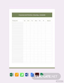 Free Commercial Kitchen Cleaning Schedule Template