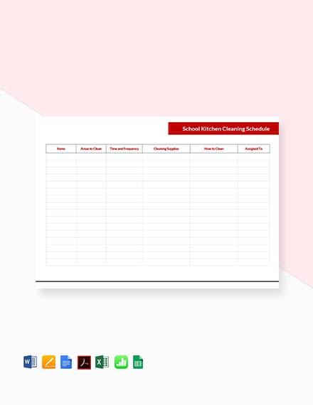 School Kitchen Cleaning Schedule Template