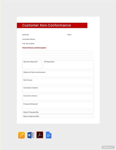 Free Customer Non-Conformance Report Template