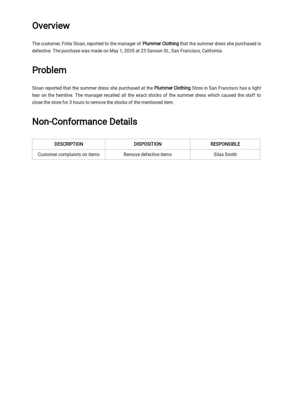 Free Customer Non Conformance Report Template 1.jpe