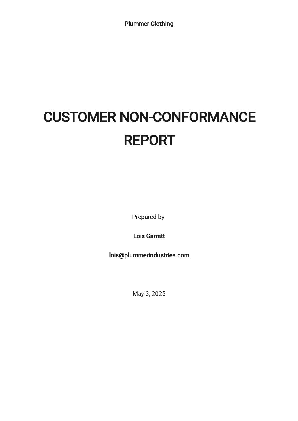 Customer Non-Conformance Report Template