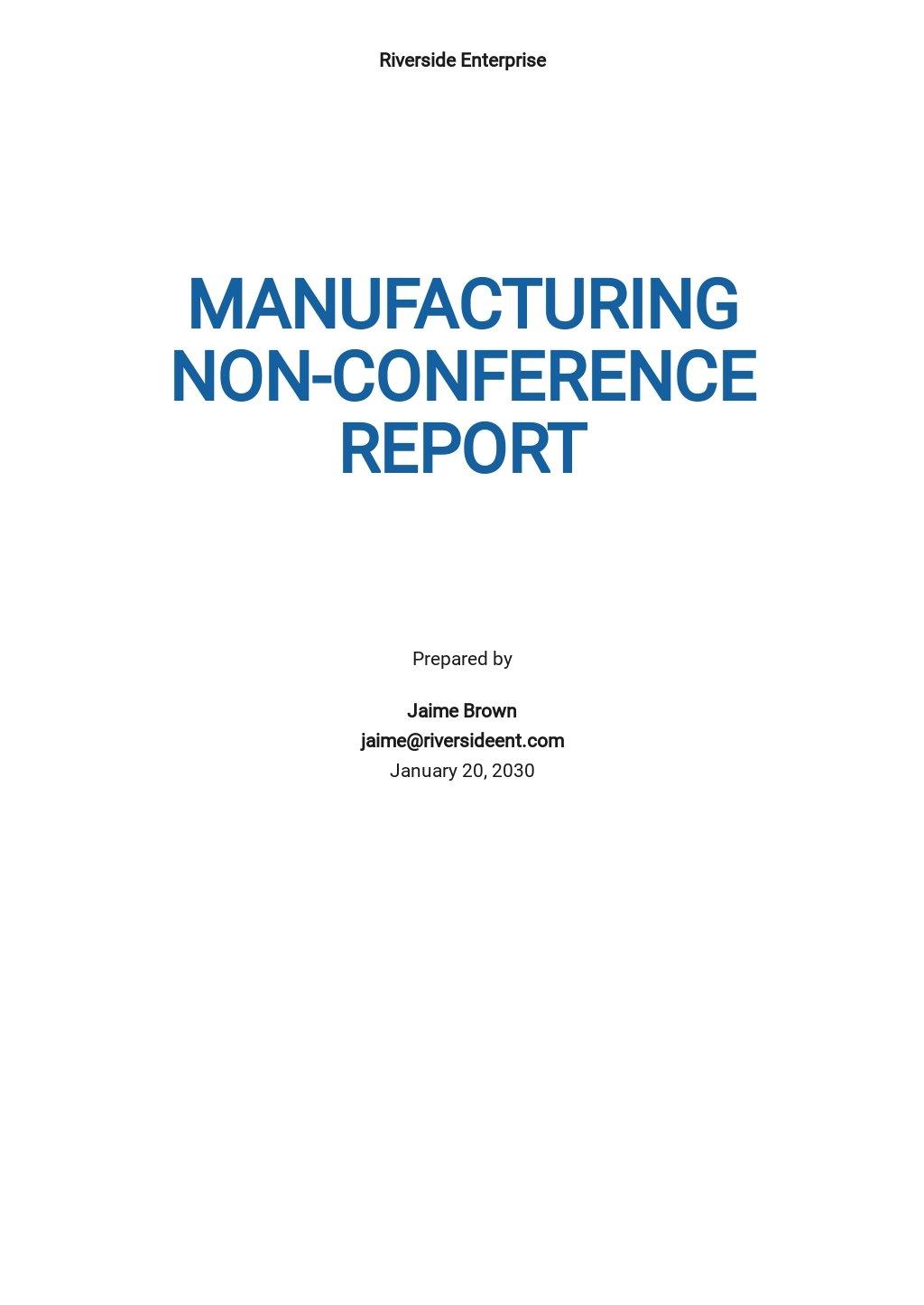 Manufacturing Non-Conformance Report Template