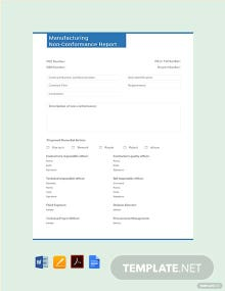 Free Manufacturing Non-Conformance Report Template