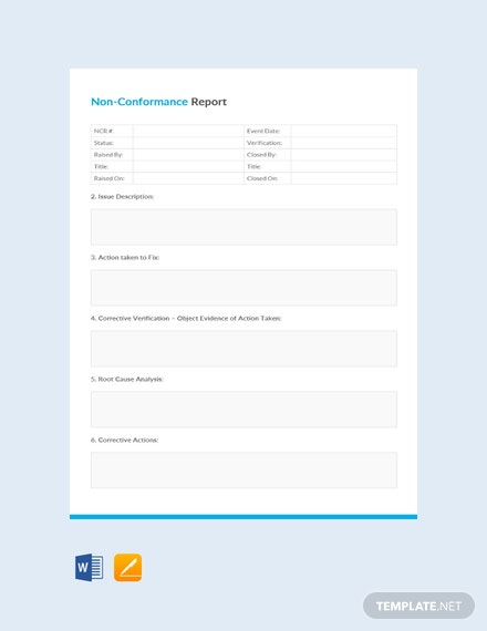 Free Non-Conformance Report Example