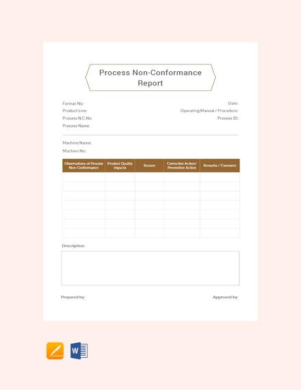 Free Process Non-Conformance Report Template