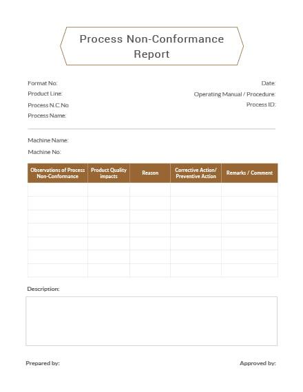 Process Non-Conformance Report Template
