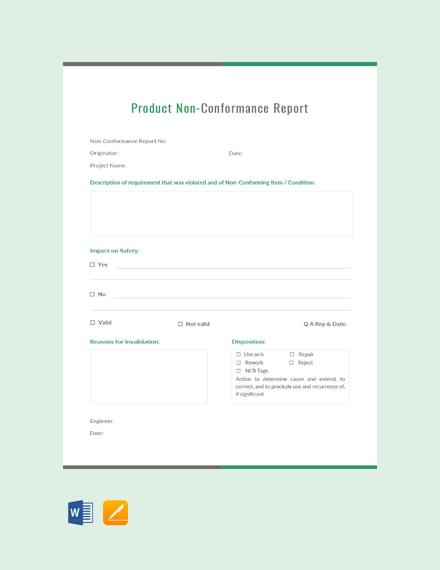 Free Product Non-Conformance Report Template