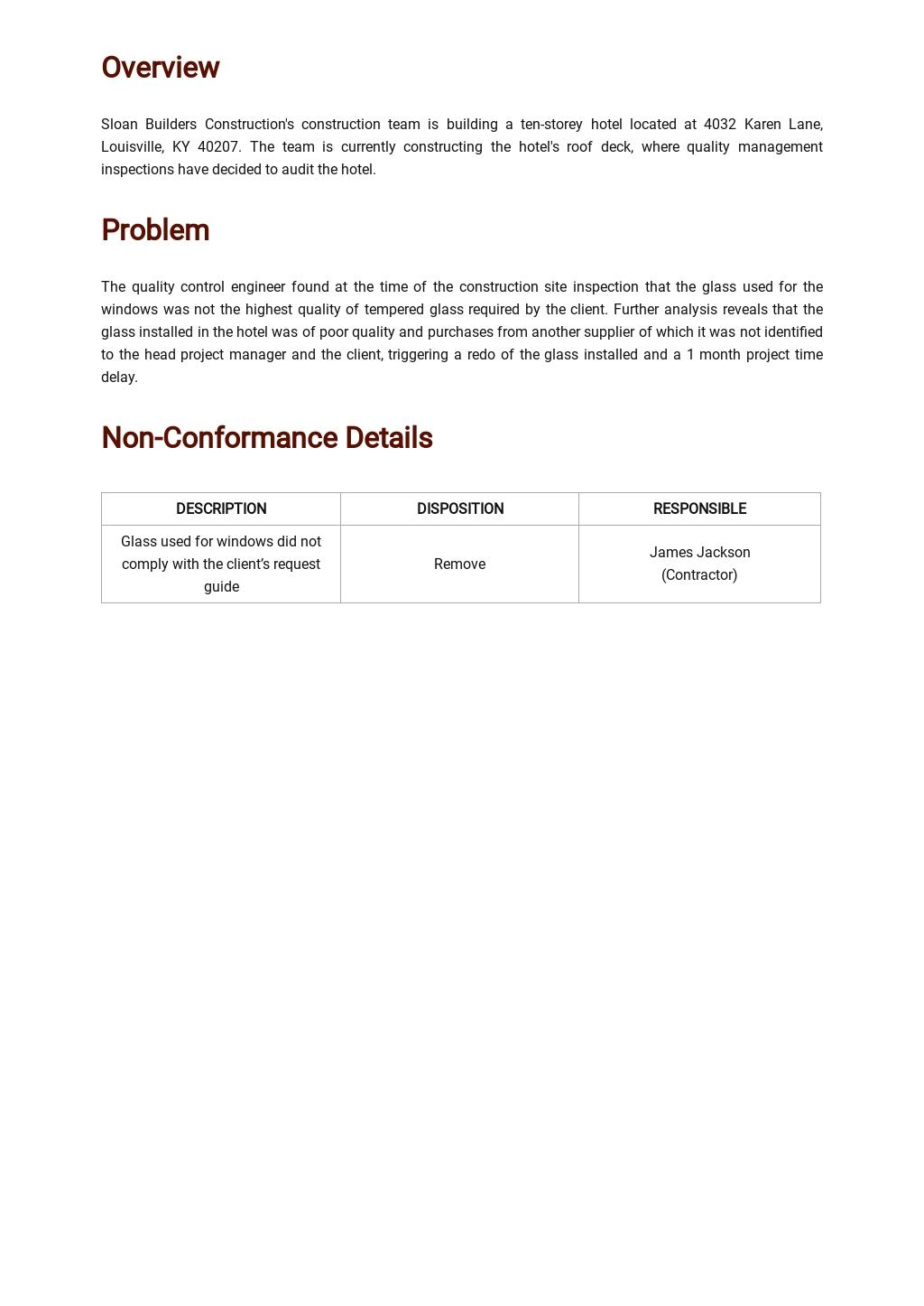 Free Product Non Conformance Report Template 1.jpe
