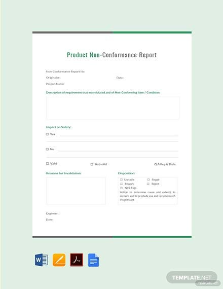 Free Product Non-Conformance Report Template