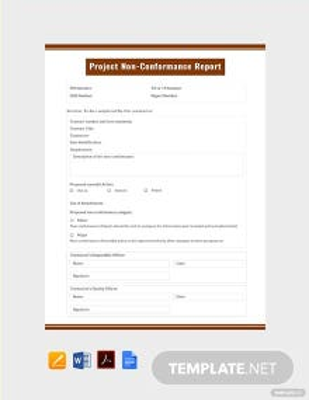 Free Project Non-Conformance Report Template