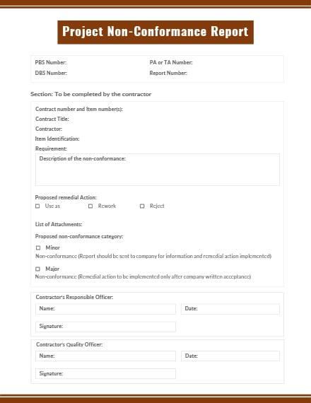 Project Non-Conformance Report Template
