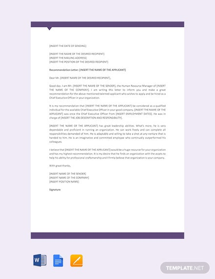Free CEO Recommendation Letter