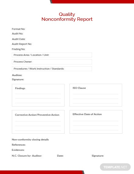 Quality Nonconformity Report Template