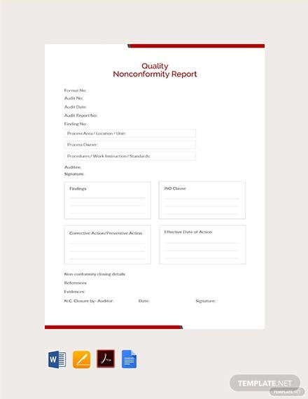 Free Quality Nonconformity Report Template