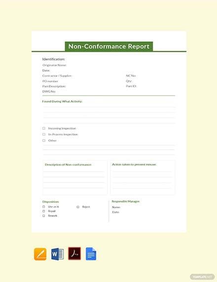 Simple NonConformance Report Template