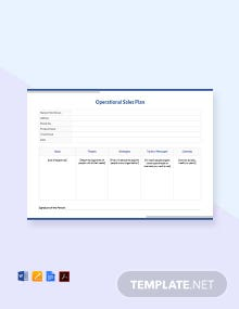 Free Operational Sales plan Template