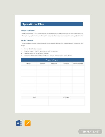 Free Operational Plan Example
