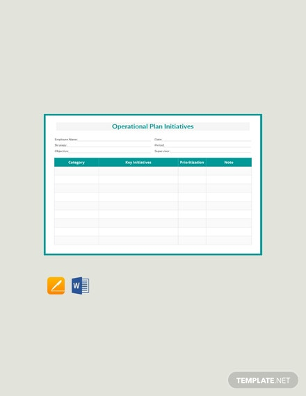 Free Operational Plan Initiatives Template