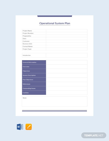 Free Operational System Plan Template