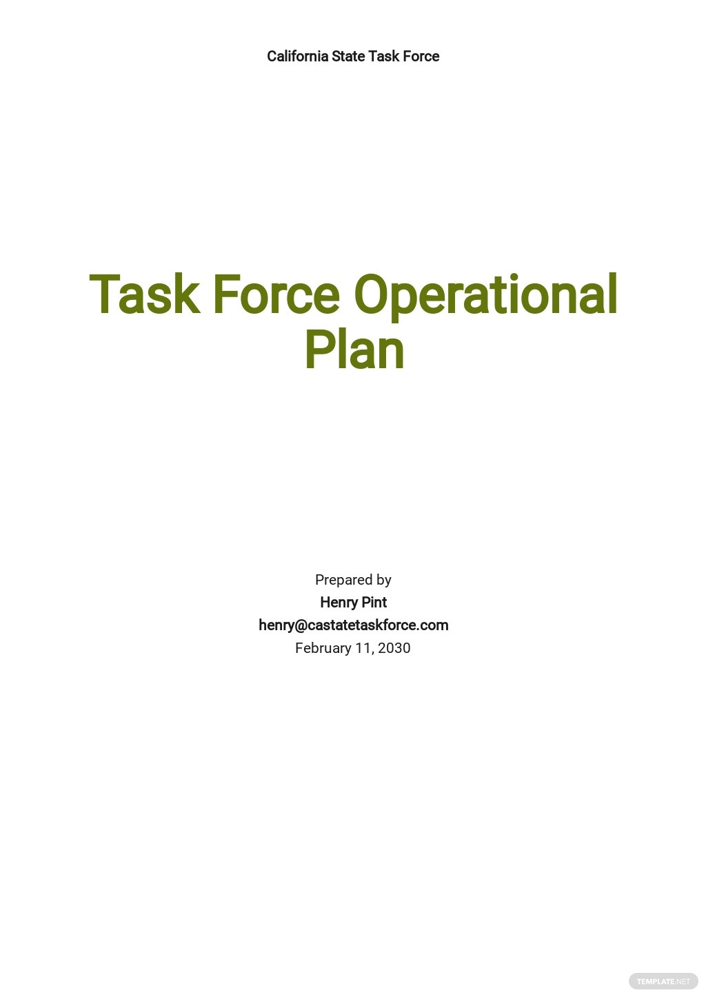 Task Force Operation Plan Template