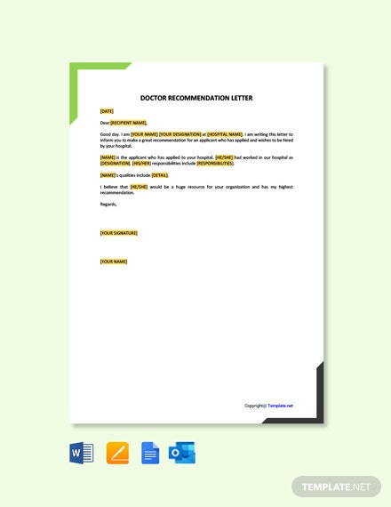 Free Doctor Recommendation Letter Template
