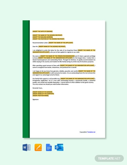 Letter Template of Recommendation for Immigration