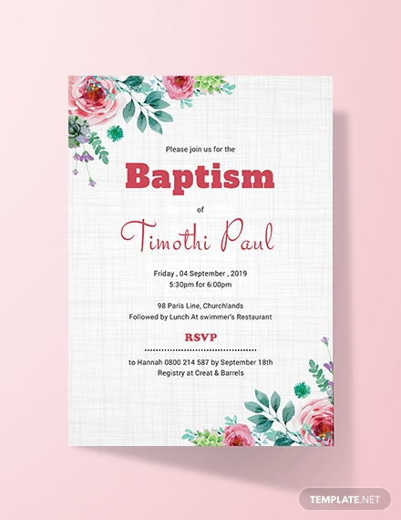 Free Simple Baptism Invitation Card Template
