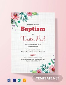 Free Simple Baptism Invitation Card Template