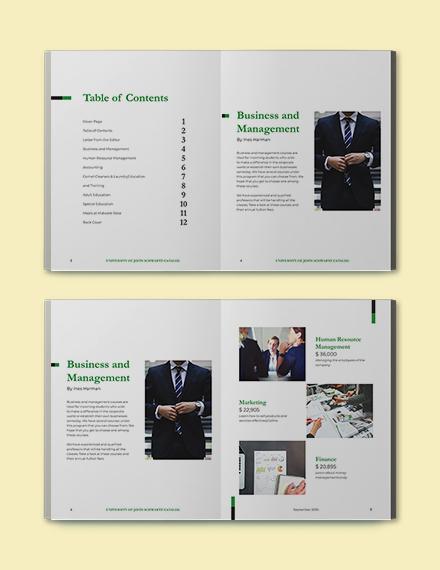 Modern Course Catalog Template Format