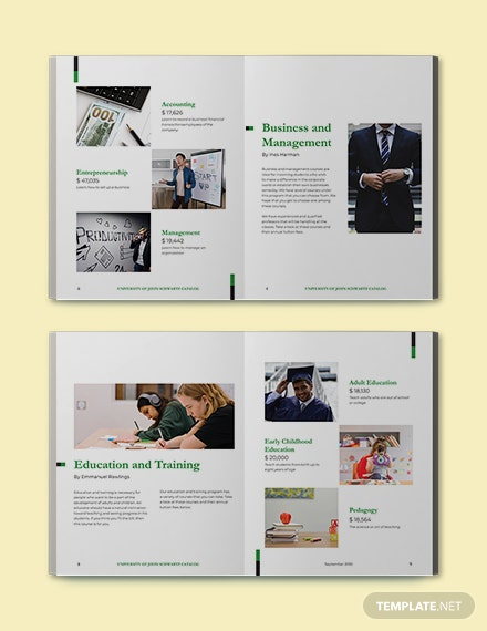 Modern Course Catalog Template Sample