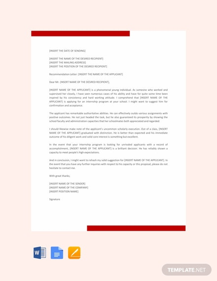 Free Letter Template of Recommendation for Internship