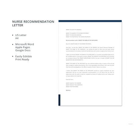 Free Nurse Recommendation Letter Template