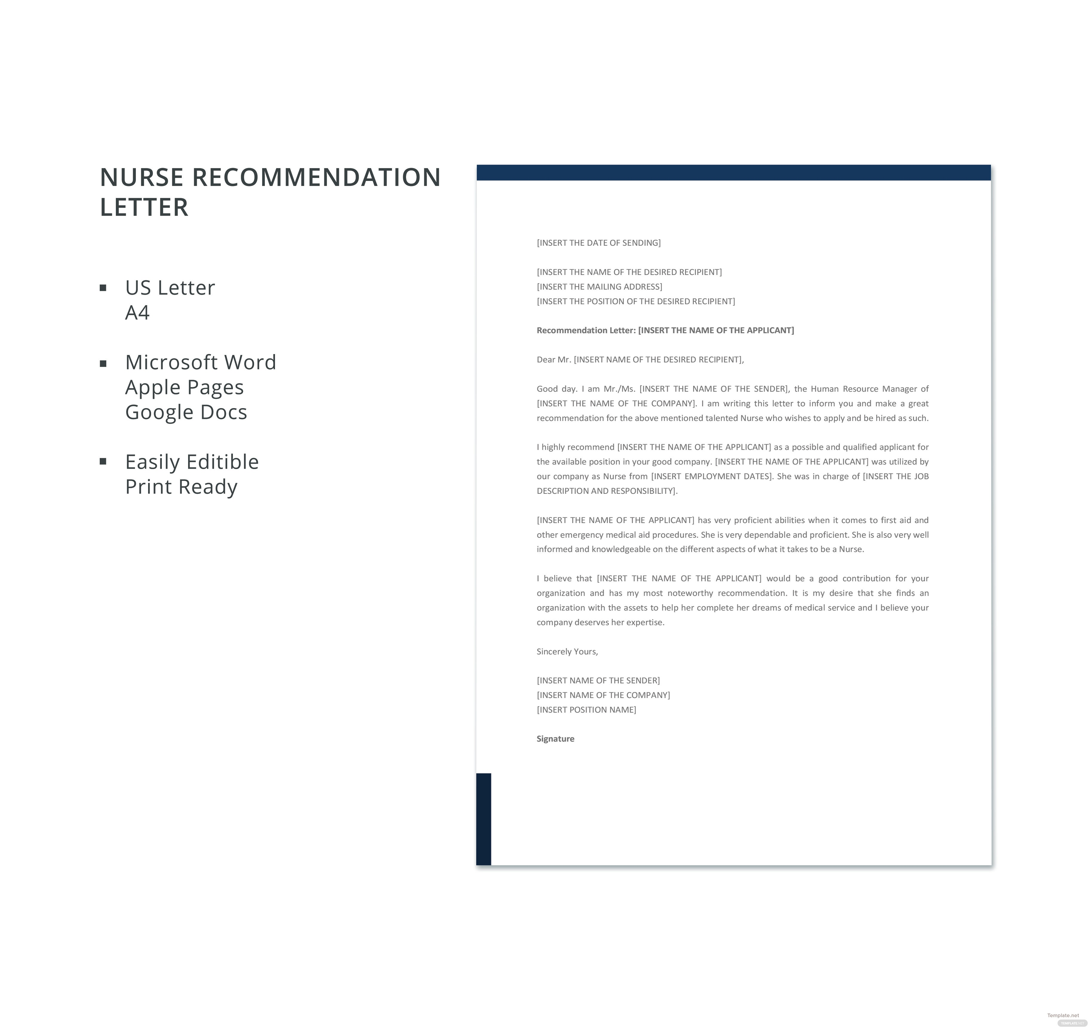 Free nurse recommendation letter template in microsoft word apple free nurse recommendation letter template spiritdancerdesigns Image collections