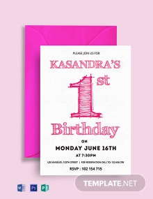 Free 1st Birthday Party Invitation Card Template