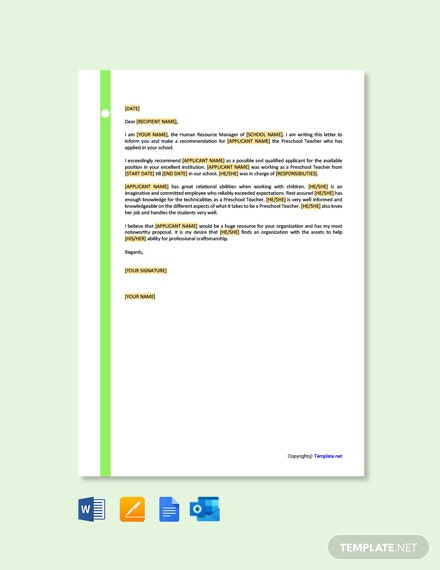 Free Preschool Teacher Recommendation Letter Template