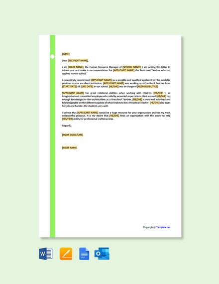 Free Preschool Teacher Recommendation Letter Template
