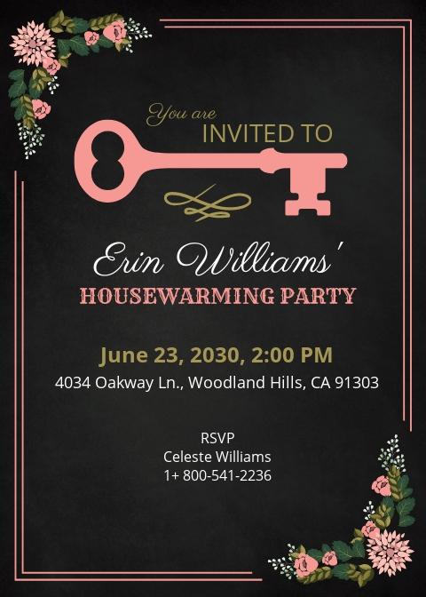 Free Chalkboard Housewarming Invitation Template