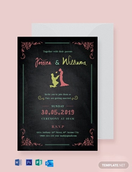 Free Chalkboard Wedding Invitation Template