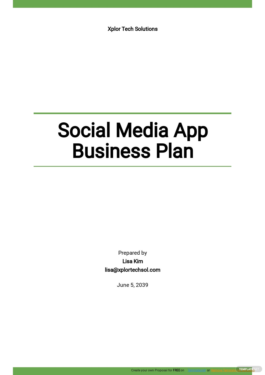 Social Media App Business Plan Template.jpe