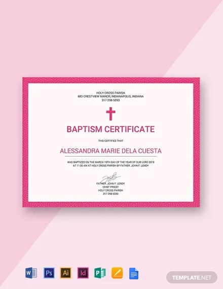 Free Baptism Certificate Template