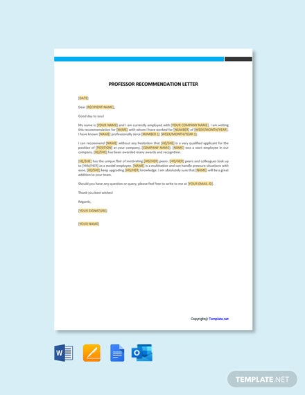 Free Professor Recommendation Letter Template