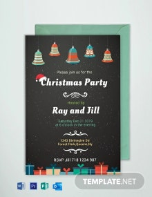 Free Chalkboard Christmas Invitation Card Template