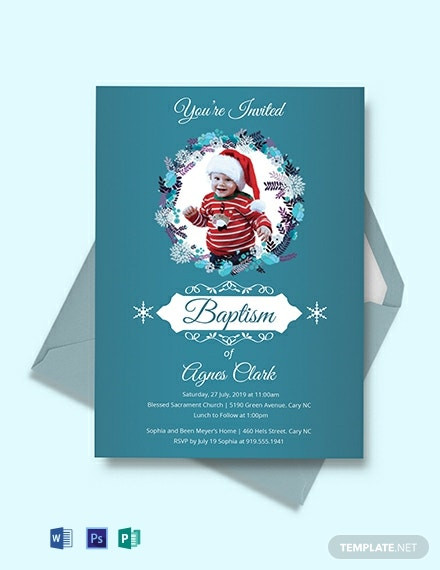 Free Blue Christening Baptism Invitation Template