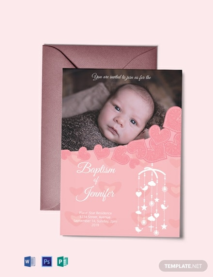 Free Printable Christening Baptism Invitation Card Template