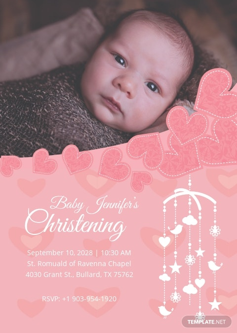 Printable Christening Baptism Invitation Card Template