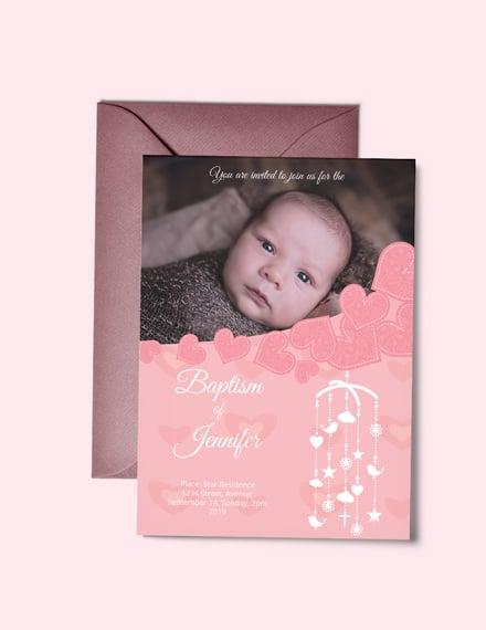 Free Printable Christening Baptism Invitation Card Template