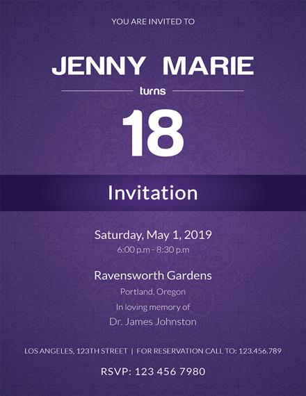 Debut Event Invitation Card