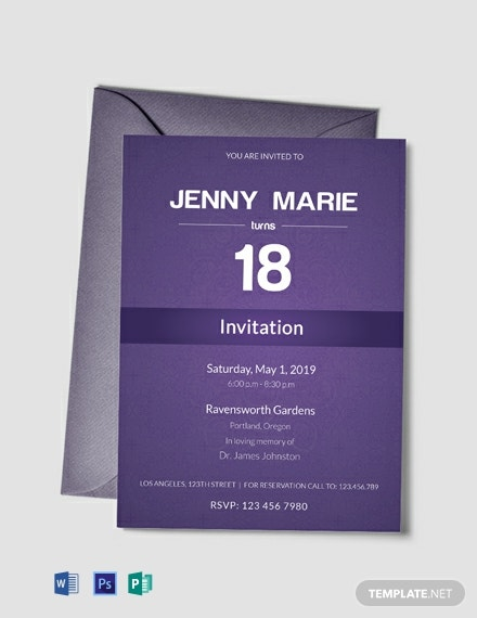 Free Debut Event Invitation Card Template