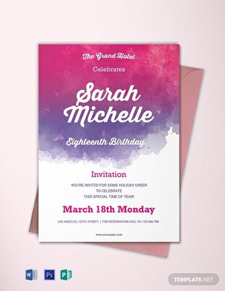 Free Watercolor Debut Invitation Template