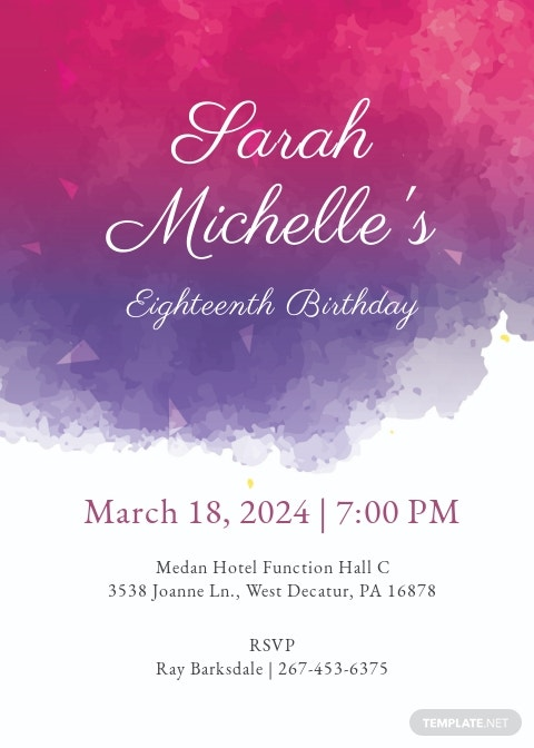 Watercolor Debut Invitation Template